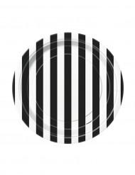 8 små tallerkener med sorte og hvide striber i karton 18 cm