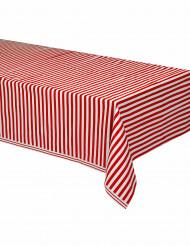 Plastikdug røde og hvide striber 137 x 274 cm