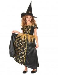 Heksekostume sort og guldfarvet pige