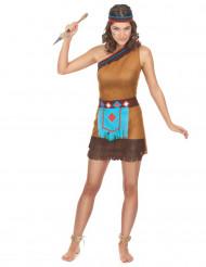 Brun og blå indianerkjole til kvinder