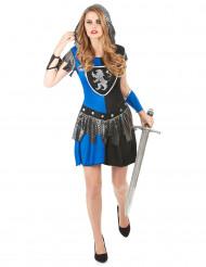Kvindeligt ridderkostume blå