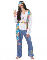 Blåt hippiekostume voksen