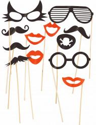 Photokit 12 stk. briller og moustaches