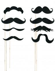 Sæt til foto med 8 moustacher