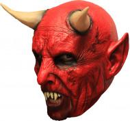 Maske 3/4 demon rød med horn og tænder