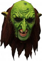 Maske 3/4 trold grøn uhyggelig med falske tænder