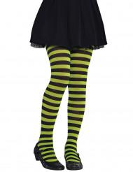 Strømpebukser grøn- og sortstribede barn