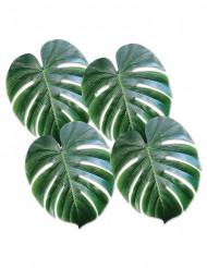 4 palmeblade i plast grønne