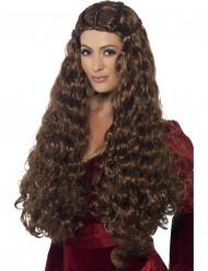 Paryk lang middelalderprinsesse brun kvinde
