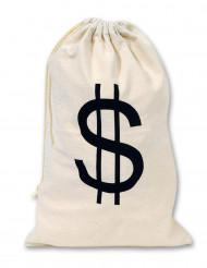 Stof pengepose med dollar tegn 42x26 cm