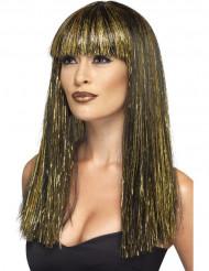 Paryk lang egyptisk kvinde sort og guldfarvet