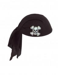 Hat med bandana sort i polyester pirat voksen