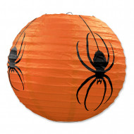 3 Lanterner i papir orange med edderkopper Halloween