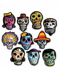 10 mini dekorationer i pap Dia de los Muertos 12x9 cm