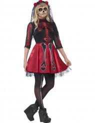 Rød og skinnende skeletdragt teenager Halloween