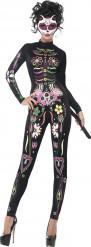 Kostume skeletdragt med farve kvinde Halloween