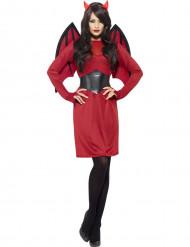 Udklædning rød og sort djævel kvinde halloween