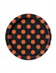 8 små sorte asietter med orange prikker 17 cm