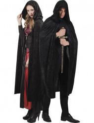 Kappe sort veloureffekt 170 cm voksen halloween