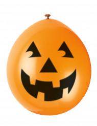 10 Balloner smilende græskar Halloween