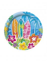 8 små paptallerkener til et Beach-party Hawaii 18 cm
