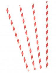 Sugerør i pap rød og hvid stribet