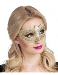 Guldpaillet venetiansk øjenmaske - kvinde