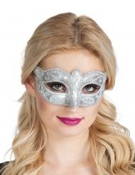 Sølvpaillet venetiansk øjenmaske - kvinde