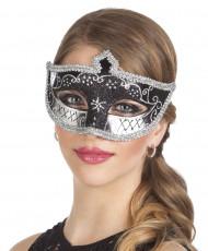 Sort og sølv venetiansk øjenmaske - kvinde