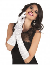 Hvide lange satin handsker - kvinde