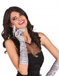 Sølv lange satin handsker - kvinde