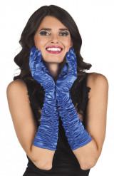 Blå lange satin handsker - kvinde