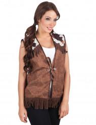 Vest western brun til kvinder