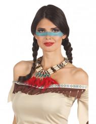Indianer halskæde med røde fjer - kvinde