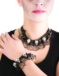 Halskæde og armbånd med kranier