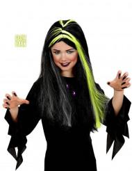 Paryk heks sort og hvid selvlysende til piger Halloween