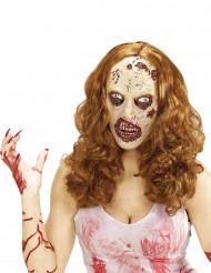 Paryk med zombiemaske Halloween til voksne