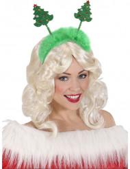 Hårbøjle juletræ grøn med pels jul
