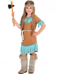 Brun og blå indianer-udklædning pige