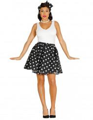 Sort nederdel og tørklæde med prikker i 50