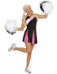 Sort og lyserødt kostume cheerleader voksen