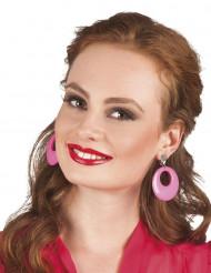 Neonfarvede lyserøde øreringe