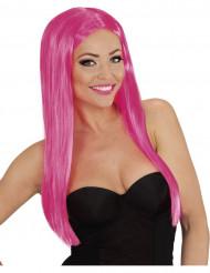 Glamourøs langhåret lyserød paryk
