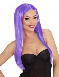 Glamourøs langhåret lilla paryk