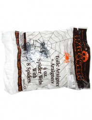 Dekoration edderkoppespind med 4 edderkopper 113g Halloween