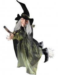 Dekoration flyvende heks på kost Halloween 100 cm.