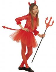 Lille hun-djævel kostume med rød tylnederdel Halloween piger