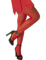 Røde strømpebukser med flammer Halloween voksen