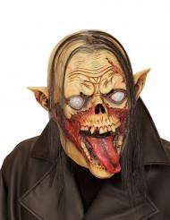 Maske vampyrzombie med hår Halloween voksen