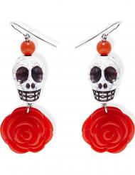 Øreringe med skelet og roser